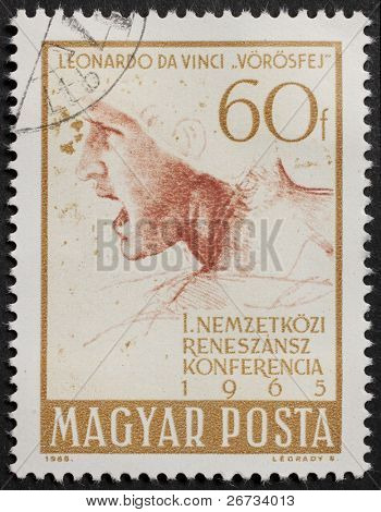 HUNGARY - CIRCA 1965: a stamp printed in Hungary celebrates International Renaissance Conference, showing image of a soldier's head, from a Leonardo da Vinci's picture.