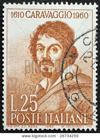 ITALY - CIRCA 1960: a stamp printed in Italy celebrates the third centenary of the death of Caravaggio showing an image of  the famous italian artist. Italy, circa 1960