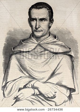 "Antique illustration of Jean-Baptiste Henri Lacordaire, French ecclesiastic and political activist. Original, from drawing of Marc, was  published on ""L'Illustration, Journal Universel"", Paris, 1860"