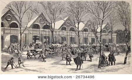 "Antique engraved illustration shows ice workers, carts and storehouse in Paris. Original, from drawing of Provost, was published on ""L'Illustration, Journal Universel"", Paris, 1860"