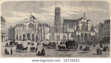 "Antique illustration of Place du Louvre, with Mairie du 1er arrondissement, the belfry and Saint Germain l'Auxerrois. By Fichot. Published on ""L'Illustration, Journal Universel"", Paris, 1860 poster"