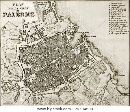An old map of Palermo, the main town in Sicily. The map, by unknown author, may approximately be dated to the first half of 19th c. and bears 17 marks for places description