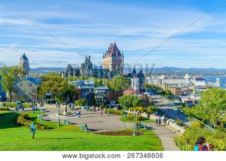 Quebec City, Canada - September 27, 2018: View Of The Old Town From The Citadel, With Locals And Vis