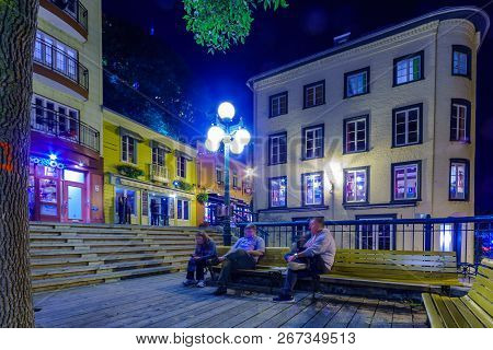 Quebec City, Canada - September 27, 2018: Night View Of The Rue Du Petit Champlain Street With Local