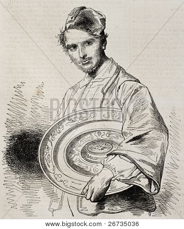 Portrait of M. Charles Sauvageot, honorary curator of  Louvre museum. From a drawing of Worms after portrait of Henriquel-Dupont, was published on  L'Illustration, Journal Universel, Paris, 1860