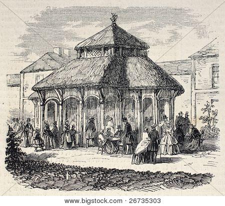 Antique illustration shows Milkbar exterior, in the Bois de Vincennes, Paris. Original, from drawing of Gaildrau, was published on L'Illustration, Journal Universel, Paris, 1860