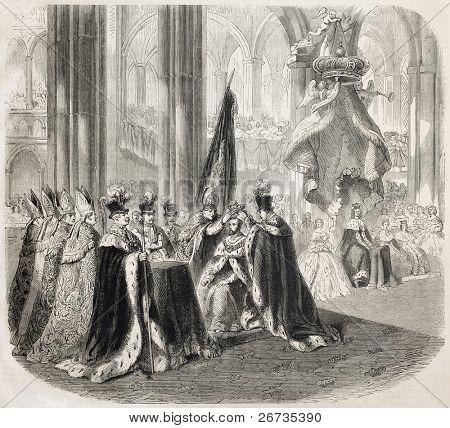 Antique illustration of coronation cerimony of Charles XV of Sweden. Original, after a drawing of Janet-Lange, after sketch of De Dardel, published on L'Illustration, Journal Universel, Paris, 1860