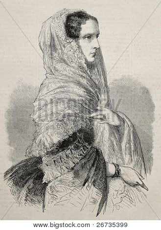 Engraved portrait of Alexandra Feodorovna, born Princess Charlotte of Prussia, Empress dowager of Russia. From drawing of Janet-Lange, published on L'Illustration, Journal Universel, Paris, 1860
