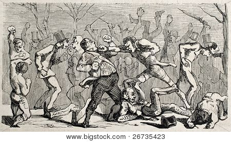 Antique humorous illustration of a brawl broking out during the boxing match. Original, from drawing of Benassis and Darjou, published on L'Illustration, Journal Universel, Paris, 1860