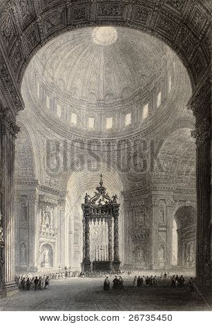 Antique illustration of Saint Peter's Basilica interior, Rome, Italy. Original, created by W. H. Bartlett and R. Sands, was published in Florence, Italy, 1842, Luigi Bardi ed.