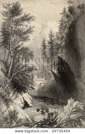 Antique illustration of Saint Gervais les Bains, in the Rhone Alps. Original, created by W. H. Bartlett and W. B. Cooke, was published in Florence, Italy, 1842, Luigi Bardi ed.