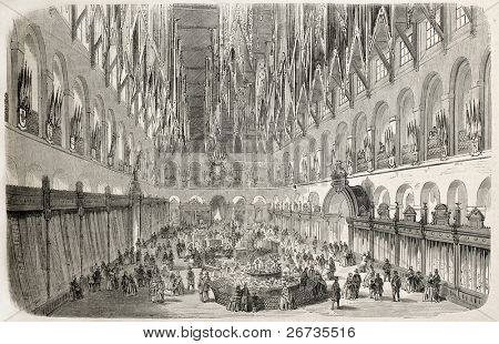 Antique illustration of Industry exposition pavilion interior in Troyes, France. Original, from drawing of Gaildrau after sketch of Fichot, published on L'Illustration, Journal Universel, Paris, 1860