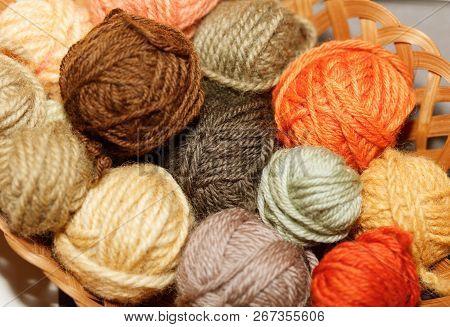 Woolen Colorful Balls Of Yarn, Mushroom Dye.