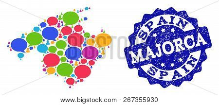 Social Network Map Of Majorca And Blue Distress Stamp Seal. Mosaic Map Of Majorca Is Composed With W