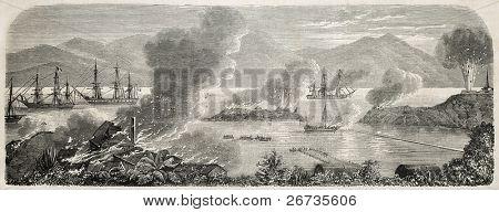 Tourane bay (numera Na Dang) i Vietnam under franska trupper evakuering, förstöra militära insta
