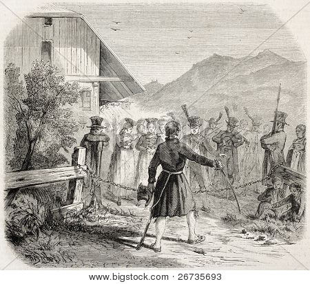 Antique illustration of Chain Ceremony: an old premarital tradition in Kirchzarten, south-west Germany. Original, from drawing of Lallemand, published on L'Illustration, Journal Universel, Paris, 1860