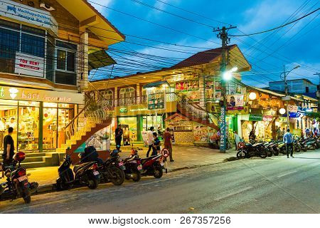 Street Evening View In Pokhara Town, Known As The Second Largest City Of Nepal