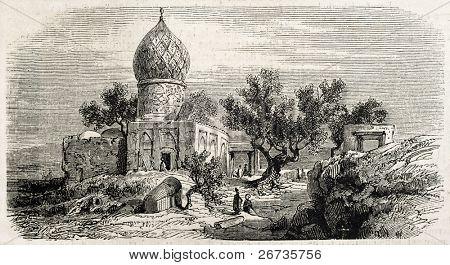Antique illustration of Iman Zade Kassem, near Tehran, Persia. Original, after drawing of Duhousset, was published on L'Illustration, Journal Universel, Paris, 1860