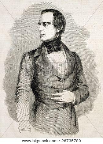 Antique engraved portrait of Baron Karl Ludwig von Bruck, Finance Minister of Austrian Empire. Original, from drawing of Hofer, published on L'Illustration, Journal Universel, Paris, 1860