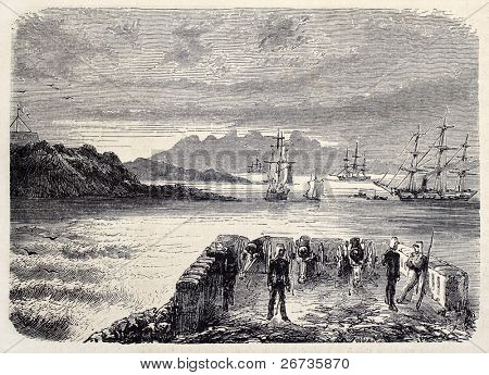 View of Aden anchorage area from a military station. Original, from drawing of Rouargue, after sketch of Deschiens, was published on L'Illustration, Journal Universel, Paris, 1860