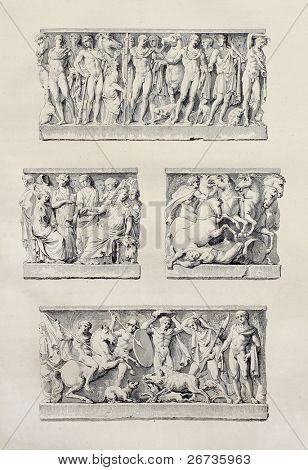 Grabdenkmal Steine in der Kathedrale von Agrigent, Sizilien. erstellt von Renard und Aubin, veröffentlicht am Reise p