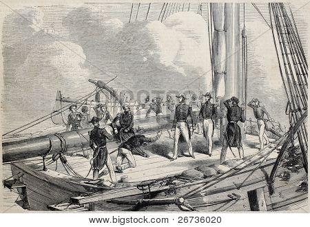 Old illustration of French battleship La Nemesis in attack of Tourane (nowadays Da Nang). From drawing of Janet-Lange, after sketch of Varin, publ. on L'Illustration Journal Universel, Paris, 1860