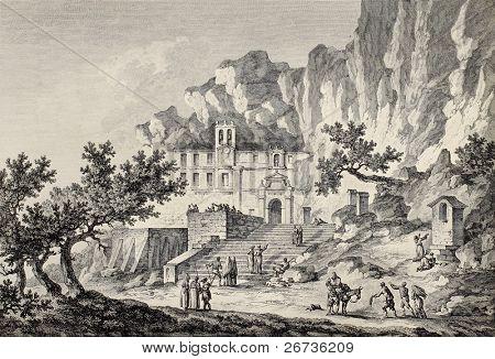 Santa Rosalia grotto, Mount Pellegrino, Palermo, Italy. By Chatelet and Du Parc, published on Voyage Pittoresque de Naples et de Sicilie,  J. C. R. de Saint Non, Imprimerie de Clousier, Paris, 1786 poster