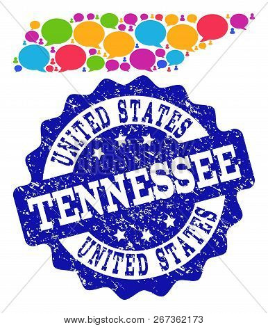 Social Network Map Of Tennessee State And Blue Distress Stamp Seal. Mosaic Map Of Tennessee State Is