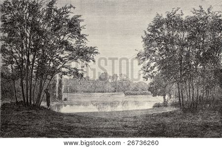 Saint James pond at Bois de Boulogne, Paris. By Hildibrand, Hochereau and Lambotte, from Les Promenades de Paris (by Alphand, Rotschild ed.), publ. on L'Illustration, Journal Universel, Paris, 1968