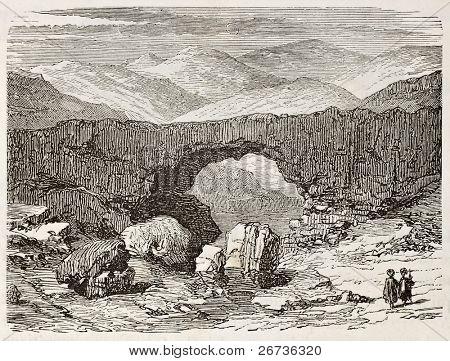 Old illustration of natural bridge in Kfardebian district, Lebanon. Created by Delaplante, published on L'Eau, by G. Tissandier, Hachette, Paris, 1873