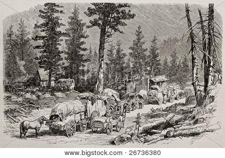 Old illustration of caravan near Cisco, along Union Pacific Railroad, Nevada. Original, by Lancelot, was published on L'Illustration, Journal Universel, Paris, 1868