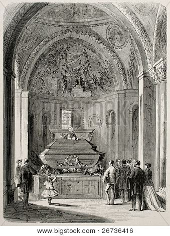 Old illustration of Daniele Mann's grave in St. Mark's basilica, venice, Italy. Original, created by Pauquet, was published on L'Illustration, Journal Universel, Paris, 1868