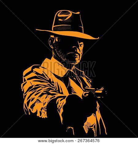 Man With Hat And With Gun. Portrait Silhouette In Backlight. Contour. Vector. Illustration.