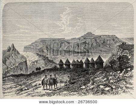 Old illustration of Magdala village, Abyssinia, nowadays Amba Mariam. Original, created by Loudon, was published L'Illustration, Journal Universel, Paris, 1868