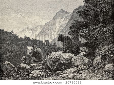 Old illustration of an indiscreet bear watching man painting on canvas. Original, created by Saal, was published L'Illustration, Journal Universel, Paris, 1868