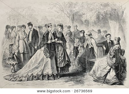 Old illustration of springtime fashion 1868 in Paris. Original, created by Pauquet, was published on L'Illustration, Journal Universel, Paris, 1868