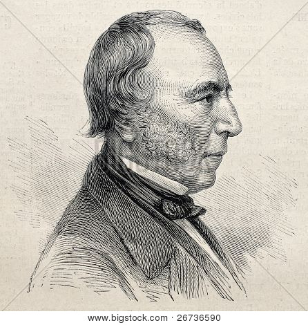Old engraved portrait of Louis Marie de Lahaye, Viscount de Cormenin, French jurist and political pamphleteer. Created by Chenu, was published on L'Illustration, Journal Universel, Paris, 1868