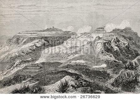 Antique illustration of battle at Arrogue, near Magdala (nowadays Amba Mariam), Abyssinia. Created by Loudon, published on L'Illustration, Journal Universel, Paris, 1868