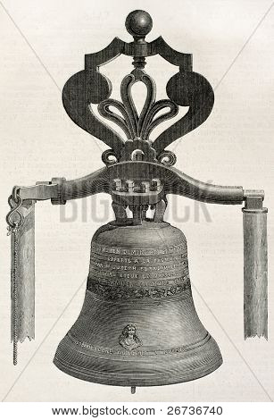 Antique illustration of a bell casted in Perre workshop, Avignon, France. Created by unknown author, published on L'Illustration, Journal Universel, Paris, 1868