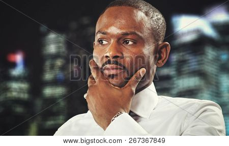 Confident black male manager portrait