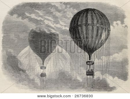 Old illustration of a strange optical phenomena during aerostat ascension in Paris, 15 april 1868. Created by Blanchard and Cosson-Smeeton, published on L'Illustration, Journal Universel, Paris, 1868