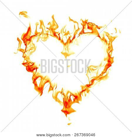 Fire flames heart symbol isolated on white background