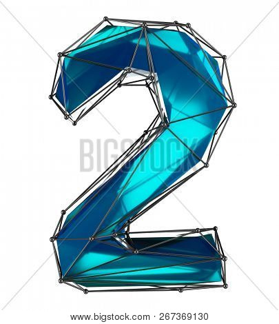 Number 2 two in low poly style blue color isolated on white background. 3d rendering