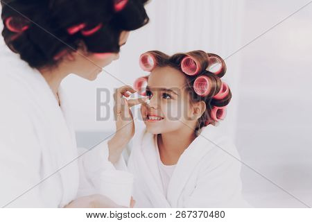 Cream For Young Girl And Beautiful Mother. Beauty Time Together With Mother. Girl With Mother Togeth