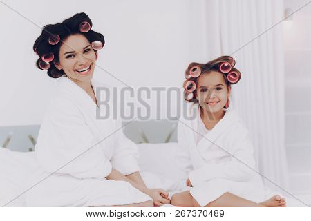 Family Happy Together, People In Beauty Saloon. Smile Face With Mother. Girl With Mother Smile At Ho
