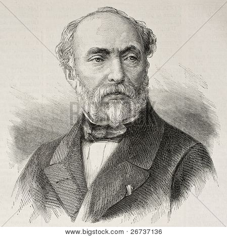 Old engraved portrait of Adrien Dauzats, French orientalist painter, illustrator and lithographer. Create by Chenu, published on L'Illustration, Journal Universel, Paris, 1868