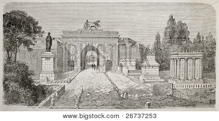 Old illustration of Herculaneum gate seen from Via dei Sepolcri, Pompeii, Italy. Created by Lancelot  published on Le Tour du Monde, Paris, 1864 poster