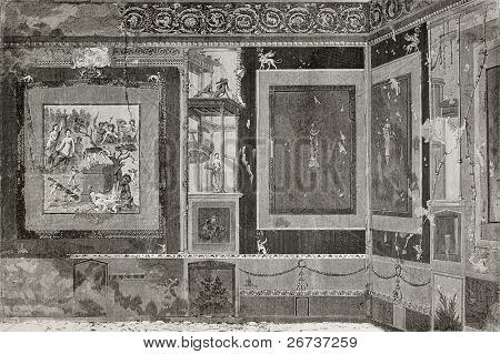 Old illustration of Exedra in House of Siriacus in Pompeii, southern Italy. Created by Therond and Meunier, published on Le Tour du Monde, Paris, 1864