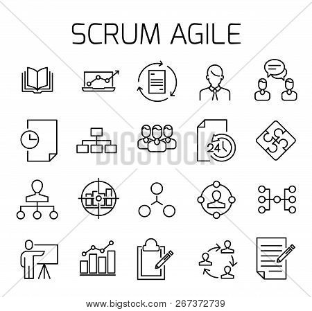 Scrum Agile Related Vector Icon Set. Well-crafted Sign In Thin Line Style With Editable Stroke. Vect