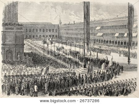 Old illustration of Daniele Manin's funeral, Italian patriot. Venice, Italy. Created by Blanchard and Cosson-Smeeton, published on L'Illustration, Journal Universel, Paris, 1868
